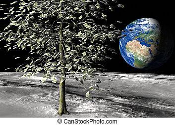 dinero, 100, euro, árbol, luna
