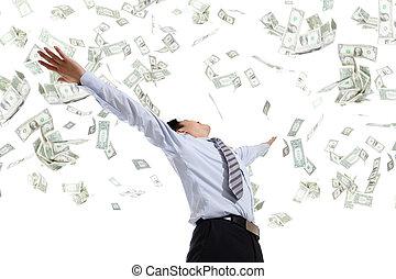 dinero, abrazo, hombre de negocios