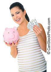 dinero, ahorro, mamá, feliz