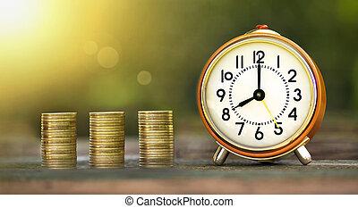 dinero, ahorros, bandera, tiempo