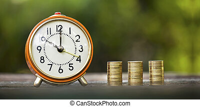 dinero, alarma, coins, reloj