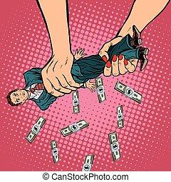 dinero, apretón, hembra, hombres, manos