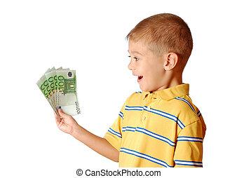 dinero, asideros, aislado, mano, plano de fondo, niño, blanco, feliz