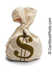 dinero, atado, bolsa