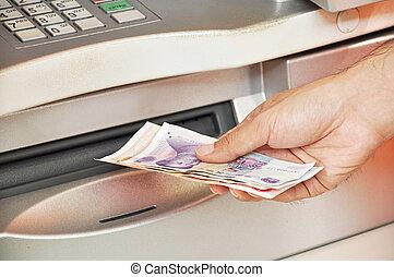 dinero, atm, mano, toma