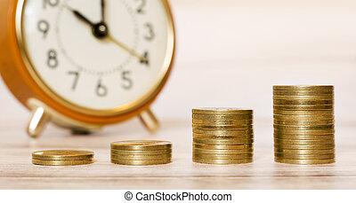 dinero, bandera, tiempo