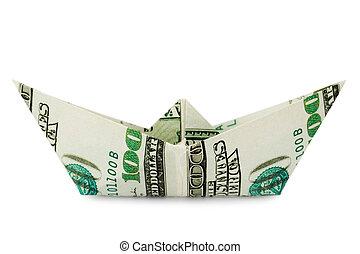 dinero, barco, hecho