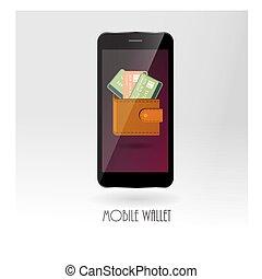 dinero, billetera con la tarjeta de crédito, símbolos, en, móvil, adminículo