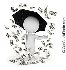 dinero, blanco, 3d, lluvia, gente