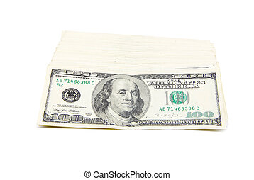 dinero, blanco, aislado, plano de fondo