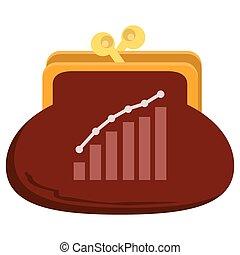 dinero, bolsa, crecimiento, de, banco, depósitos, concepto