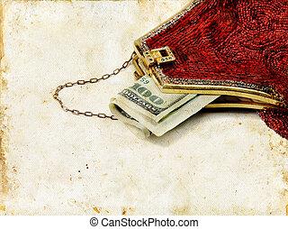 dinero, bolsa, grunge, fondo rojo