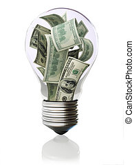 dinero, bombilla, luz