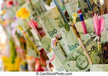 dinero, budista, árbol, tradicional, kathin, tailandia,...