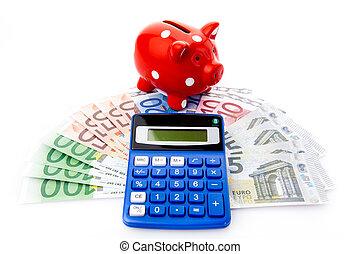 dinero, calculadora, cerdito, Banco,  Euro