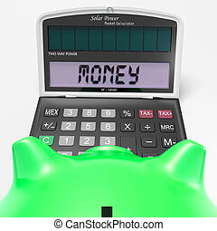 dinero, calculadora, exposiciones, prosperidad, renta, y, efectivo