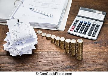 dinero, calculadora, recibos