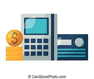 dinero, calculadora, tarjeta bancaria