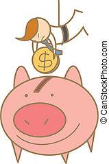 dinero, carácter, ahorcadura, excepto, caricatura, hombre