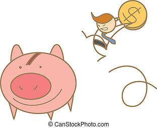 dinero, carácter, saltar, excepto, caricatura, hombre