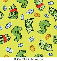 dinero, caricatura, seamless, patrón