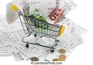 dinero, carrito, compras, recibos