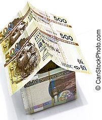 dinero, casa, hecho, de, dólares hong-kong