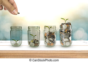 dinero, coins, mano, semilla, bottle., hombre