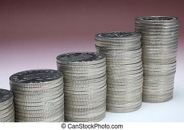 dinero, coins, pilas