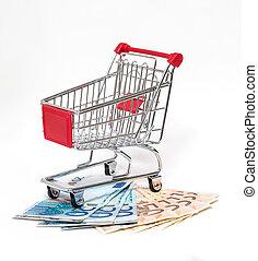 dinero, compras, aislado, carrito