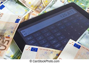 dinero, computadora, calculador, tableta
