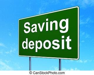 dinero, concept:, ahorro, depósito, en, muestra del camino, plano de fondo