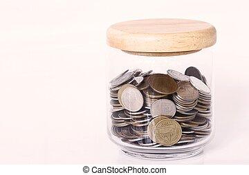 dinero, concepto, ahorro, coins