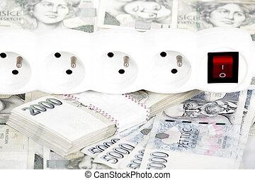 dinero, concepto, de, costoso, energía, cuenta