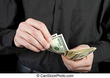 dinero, condes, hombre, manos