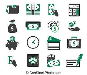 dinero, conjunto, iconos