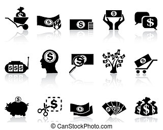 dinero, conjunto, negro, iconos