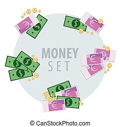 dinero, conjunto, ramos