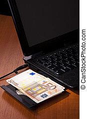 dinero, cuaderno, finanzas, balance, euro
