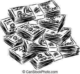 dinero, dólares americanos, ilustración
