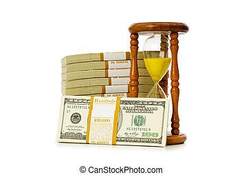 dinero, dólares, concepto, reloj de arena, tiempo
