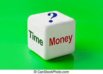 dinero, dados, palabras, tiempo