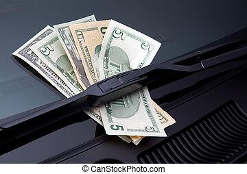 dinero, debajo, limpiaparabrisas