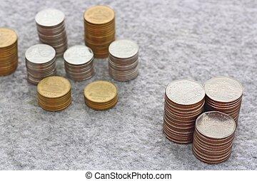 dinero del ahorro, concepto, con, moneda, pila, crecer