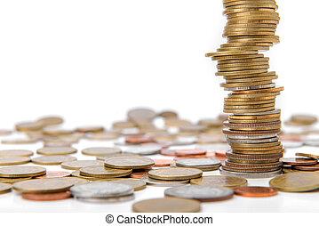 dinero del ahorro, concepto, moneda, pila, crecer, empresa / negocio