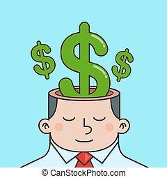 dinero, dentro, mente, hombre de negocios