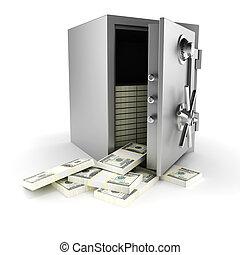 dinero, dentro, plano de fondo, cámara acorazada, blanco, 3d