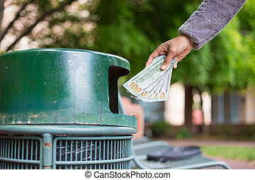 dinero, desperdicio