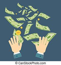 dinero, desperdicio, mano