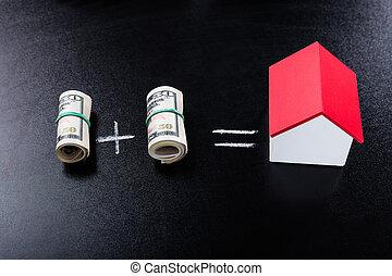 dinero, ecuación, pizarra